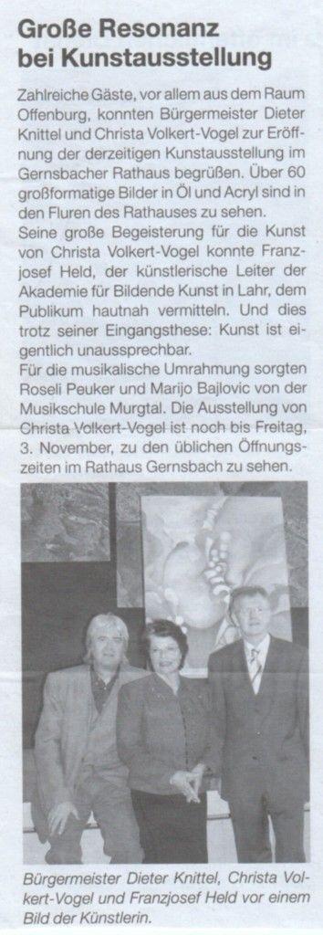 Lokalzeitung Austellung Gernsbach