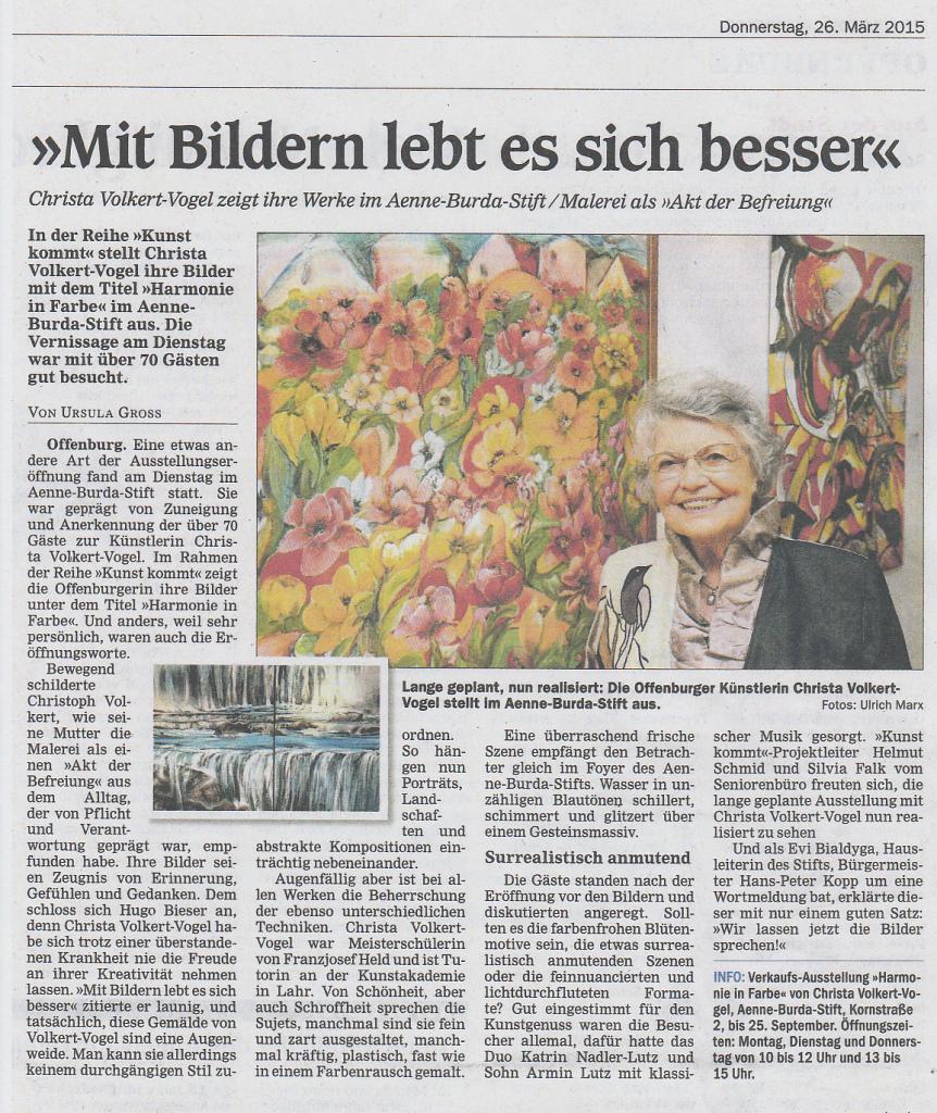 Artikel zur Vernissage im Offenburger Tageblatt